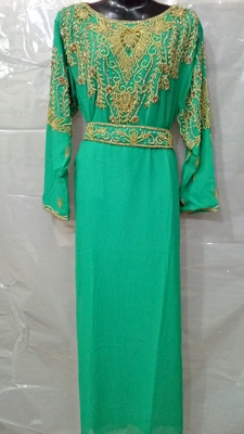 Green georgette hand embroidery stitched abaya