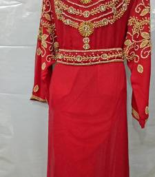 Red georgette hand embroidery stitched farasha kaftan
