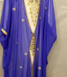 Blue Georgette Hand Embroidery Stitched Abaya