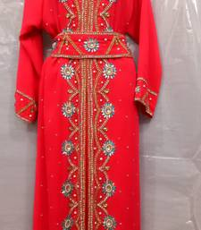 Red georgette hand embroidery stitched abaya with belt