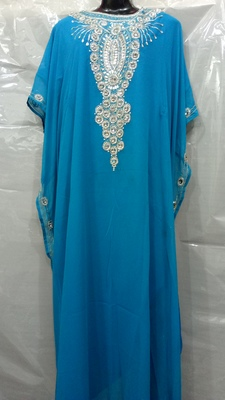 Light Blue Georgette Hand Embroidery Stitched Abaya