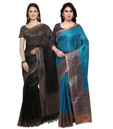 Buy Black printed tussar silk saree with blouse sarees-combo-sari online