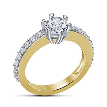 14K Gold Plated Sterling Silver White Cubic Zirconia Engagement Ring For Women