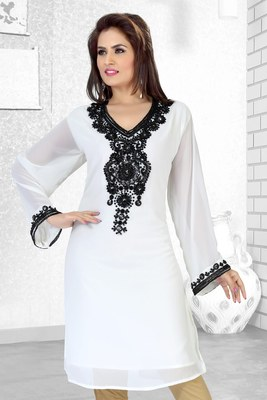Off White Embroidered Faux Georgette Kurti