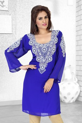royal blue embroidered faux georgette kurti