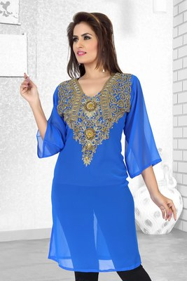 blue embroidered faux georgette kurti