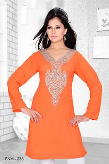 6cfc7613056c peach embroidered faux georgette kurti