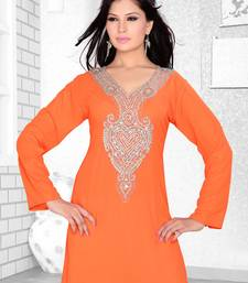 peach embroidered faux georgette kurti