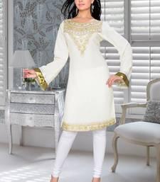 off white embroidered faux georgette kurti