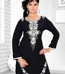 Black Embroidered Faux Georgette Kurti
