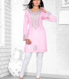 baby pink embroidered faux georgette kurti