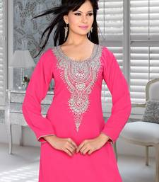 fuchsia pink embroidered faux georgette kurti