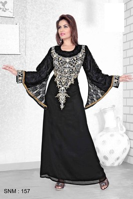 Black Embroidered Faux Georgette Kaftan