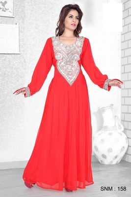 Red Embroidered Faux Georgette Kaftan