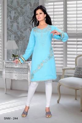 sky blue embroidered faux georgette kurti