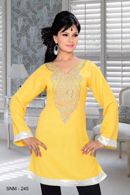 yellow embroidered faux georgette kurti