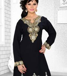 black embroidered faux georgette kurti