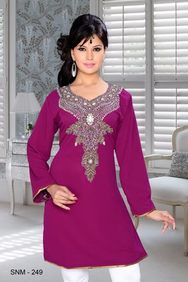Purple Embroidered Faux Georgette Kurti