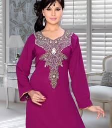 Purple Embroidered Faux Georgette Kurti