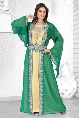 Bottle Green And Golden Satin Embroidered Faux Georgette Moroccan Kaftan
