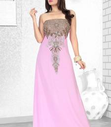 baby pink embroidered faux georgette fustan