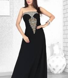 Black Embroidered Faux Georgette Fustan