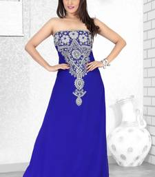 royal blue embroidered faux georgette fustan fustan