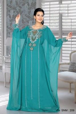 Turquoise Blue Embroidered Faux Georgette Farasha