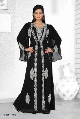 Black Embroidered Faux Georgette Kaftan