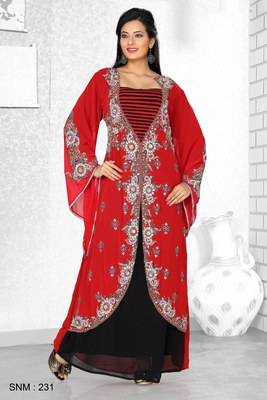 Red And Black Embroidered Faux Georgette Kaftan