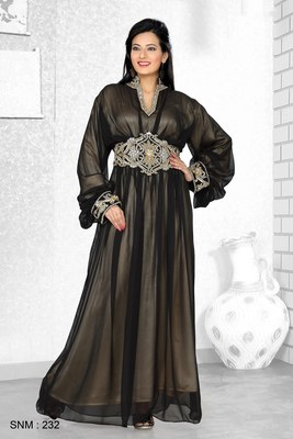 Black And Golden Satin Embroidered Faux Georgette Kaftan