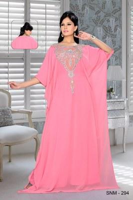Pink Embroidered Faux Georgette Farasha Kaftan