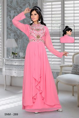 baby pink embroidered faux georgette kaftan