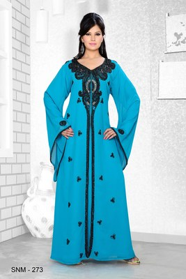 Turquoise Blue Embroidered Faux Georgette Kaftan