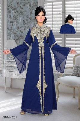 Navy Blue Embroidered Faux Georgette Kaftan