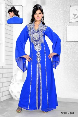 Royal Blue Embroidered Faux Georgette Kaftan