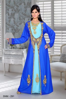 Royal Blue And Sky Blue Embroidered Faux Georgette Kaftan