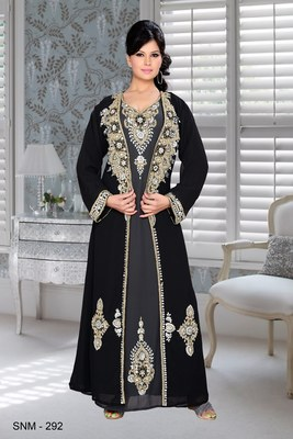 Black And Grey Embroidered Faux Georgette Kaftan
