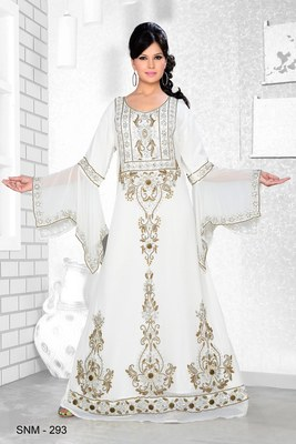 Off White Embroidered Faux Georgette Kaftan
