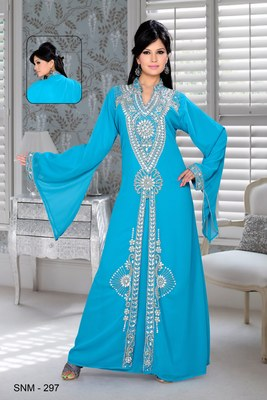 Sky Blue Embroidered Faux Georgette Kaftan