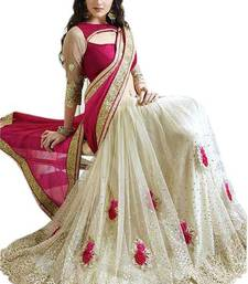 Buy Pink embroidered satin saree with blouse bollywood-saree online