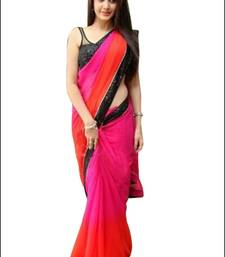 Buy Pink plain georgette saree with blouse women-ethnic-wear online