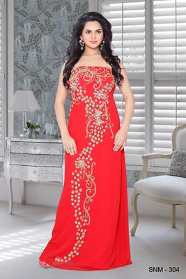 Red faux georgette embroidered fustan
