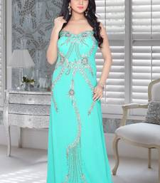 Sky blue faux georgette embroidered fustan