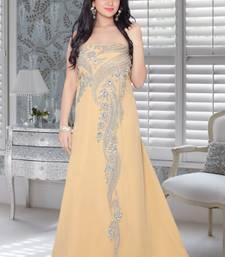 Buy Beige faux georgette embroidered fustan fustan online