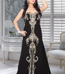 Black Faux Georgette Embroidered Fustan