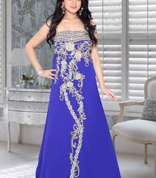 Royal blue faux georgette embroidered fustan