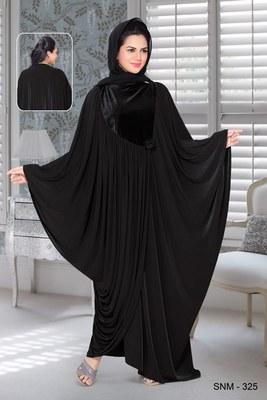 Black Lycra Embroidered Abaya With Hijab