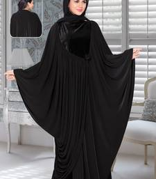 Black Lycra Embroidered Abaya With Hijab