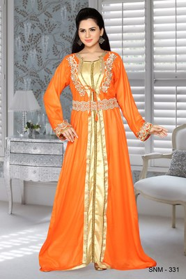 Orange And Golden Satin Faux Georgette Embroidered Kaftans